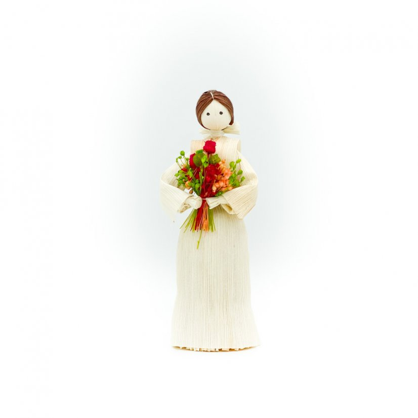Corn husk doll - red bouquet