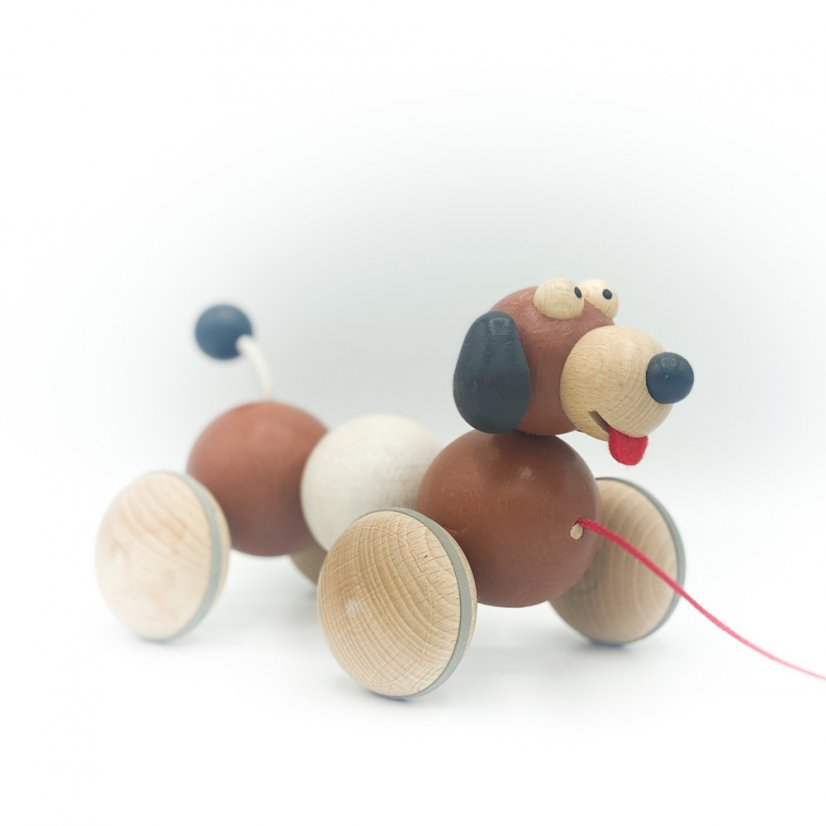 Wooden pull-along dog