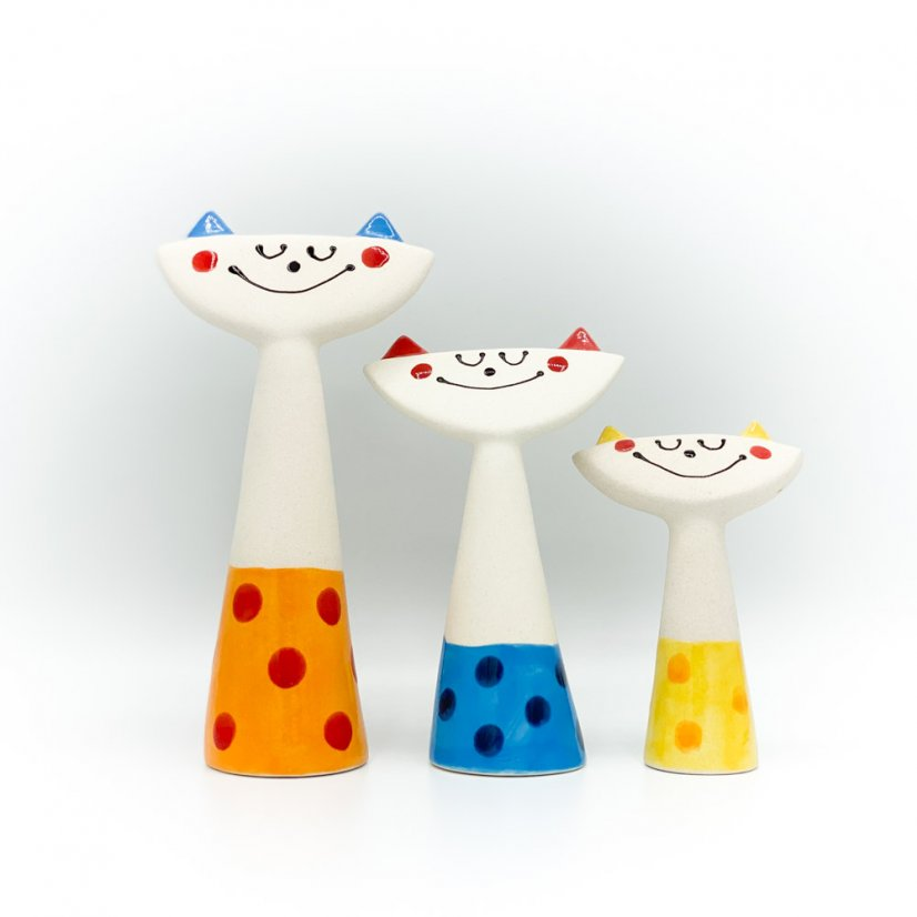 Happy cat, more colours - Colour: Blue, Height: 13 cm