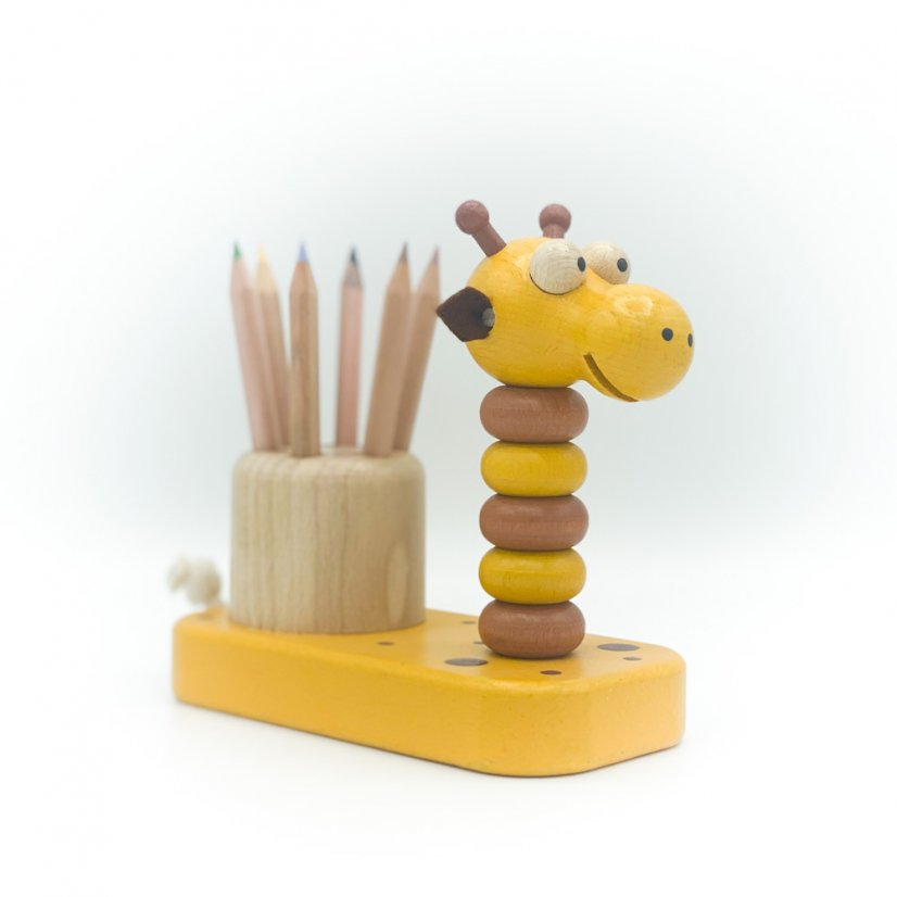 Wooden pencil case - giraffe